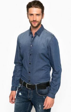 Рубашка из хлопка со съемным воротником Guess. Цвет: синий