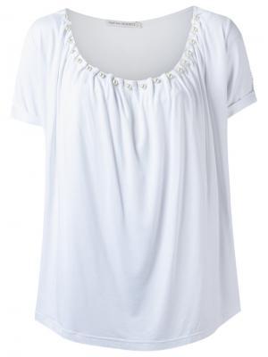 Блузка с декорированным вырезом Martha Medeiros. Цвет: белый