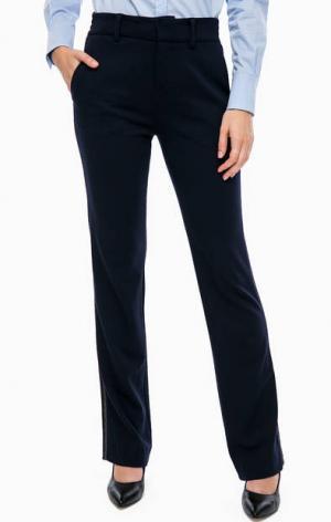 Прямые брюки с золотистой вышивкой по бокам DRYKORN. Цвет: синий
