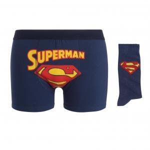 Набор трусы-боксеры и носки SUPERMAN. Цвет: темно-синий