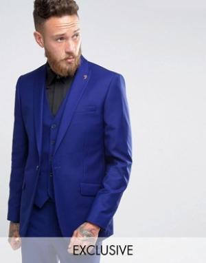 Farah Синий пиджак узкого кроя с острыми лацканами. Цвет: зеленый