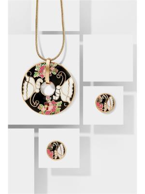 Набор украшений Папиллон Блэк: цепочка с кулоном и серьги Nothing but Love. Цвет: черный, золотистый, розовый