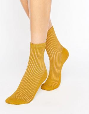ASOS Однотонные носки в рубчик. Цвет: желтый