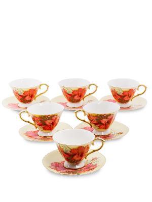 Чайный н-р на 6 перс. Фиор Дель Аморе (Pavone) Pavone. Цвет: красный