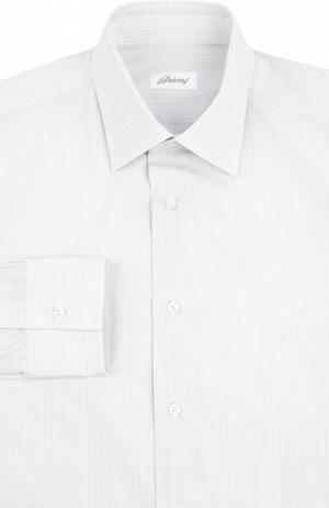 Хлопковая сорочка с итальянским воротником Brioni. Цвет: светло-серый