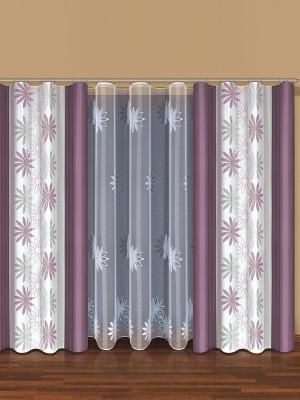 Комплект штор Haft. Цвет: лиловый, белый