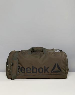 Reebok Спортивная сумка цвета хаки среднего размера CE0915. Цвет: зеленый