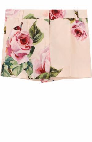 Хлопковые шорты с принтом Dolce & Gabbana. Цвет: розовый