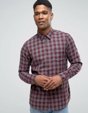Jack Wills Фланелевая рубашка в клетку классического кроя. Цвет: красный