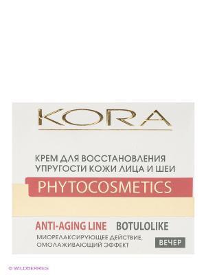 Крем для восстановления упругости кожи лица и шеи, вечерний уход КОРА. Цвет: белый