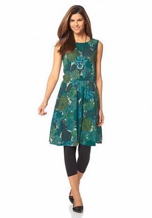 Легкое платье CHILLYTIME. Цвет: зеленый с рисунком