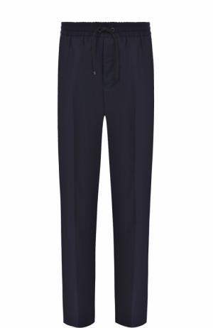 Шерстяные брюки прямого кроя с поясом на кулиске Ami. Цвет: темно-синий