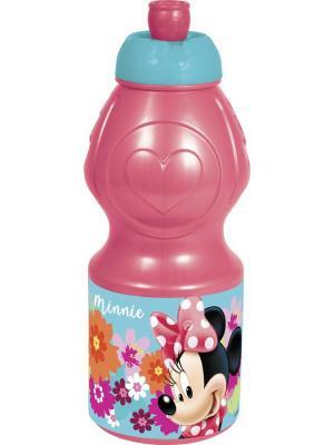 Бутылка пластиковая (спортивная, фигурная, 400 мл). Минни Маус Цветы Stor. Цвет: красный