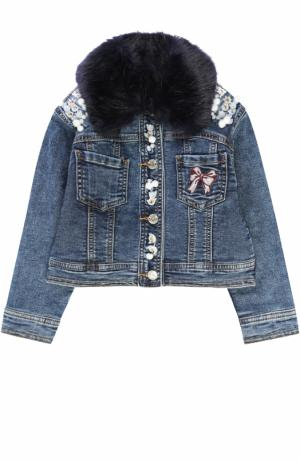 Куртка из денима с аппликациями и утепленным воротником Monnalisa. Цвет: синий