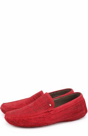 Кожаные мокасины с перфорацией Aldo Brue. Цвет: красный