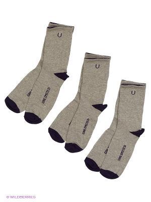 Носки спортивные 3 пары Unlimited. Цвет: бежевый, темно-фиолетовый