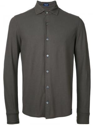 Однотонная рубашка Drumohr. Цвет: коричневый