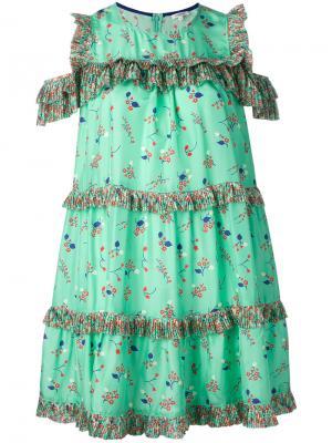 Платье с цветочным принтом и рюшами Manoush. Цвет: зелёный