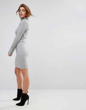 ASOS Комбинируемая мини-юбка с декоративными швами. Цвет: серый