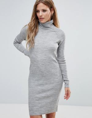 Noisy May Платье с отворачивающимся воротом и длинными рукавами. Цвет: серый