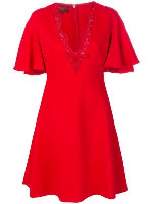 Платье с волнистой кружевной отделкой Giambattista Valli. Цвет: красный