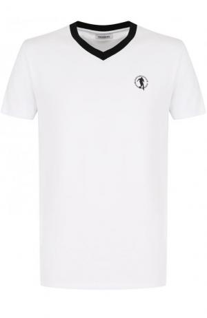 Хлопковая футболка с V-образным вырезом Dirk Bikkembergs. Цвет: белый