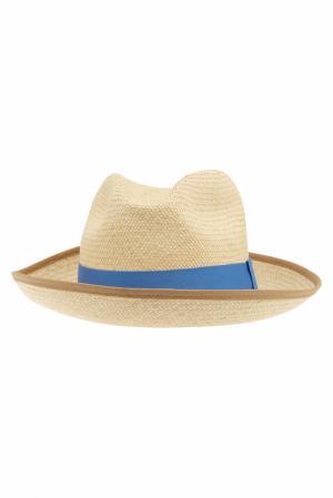 Соломенная шляпа Clasico Natural Artesano. Цвет: кремовый, голубой