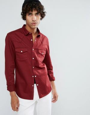 ASOS Бордовая джинсовая рубашка скинни в стиле вестерн. Цвет: красный