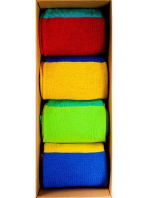 Набор Автостопом по галактике (4 пары в коробке), дизайнерские носки SOXshop. Цвет: синий, зеленый, красный, желтый