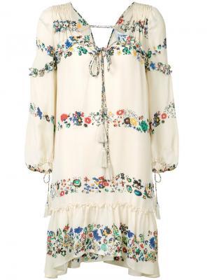 Платье с цветочным узором Derek Lam 10 Crosby. Цвет: телесный