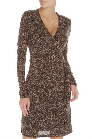 Платье с запахом животным принтом Liu Jo. Цвет: коричневый, черный