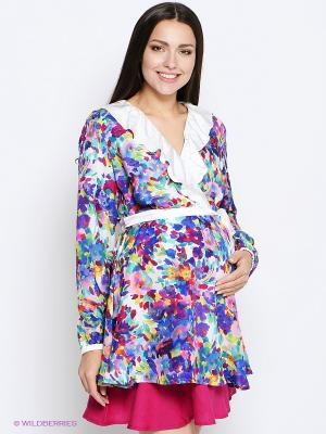 Блузка MammySize. Цвет: синий, бирюзовый, розовый, желтый