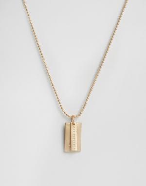 Chained & Able Золотистое матовое ожерелье с армейским жетоном логотипом. Цвет: золотой