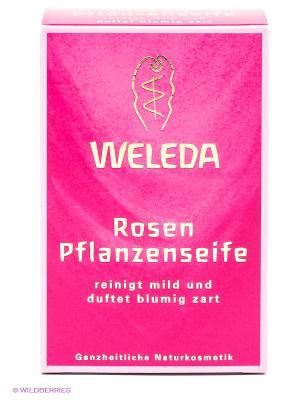 Розовое растительное мыло, 100 гр Weleda. Цвет: розовый