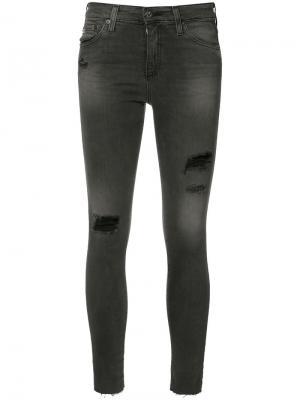Джинсы кроя скинни с рваными деталями Ag Jeans. Цвет: чёрный
