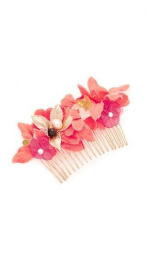 Гребень для волос с тропическими цветами Lizzie Fortunato. Цвет: оранжевый