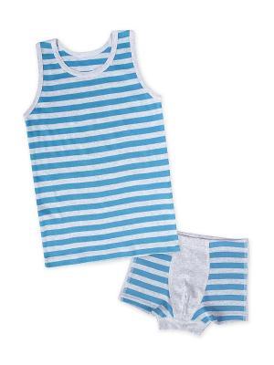 Майка, шорты Апрель. Цвет: голубой, серый