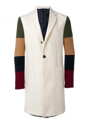 Пальто дизайна колор-блок Lc23. Цвет: белый