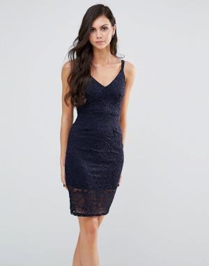 Lipstick Boutique Кружевное платье миди на бретельках. Цвет: темно-синий