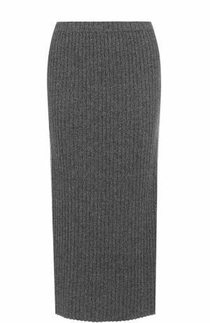 Кашемировая юбка-миди фактурной вязки Allude. Цвет: серый