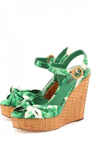 Босоножки Bianca из шелка на танкетке Dolce & Gabbana. Цвет: зеленый