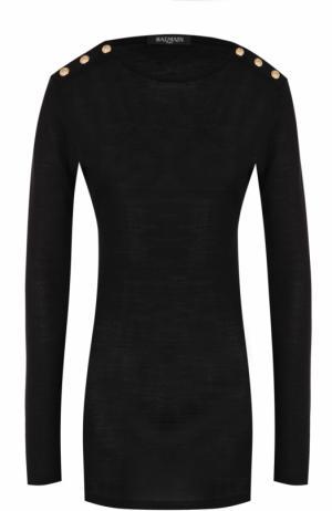 Пуловер из смеси шерсти и шелка Balmain. Цвет: черный