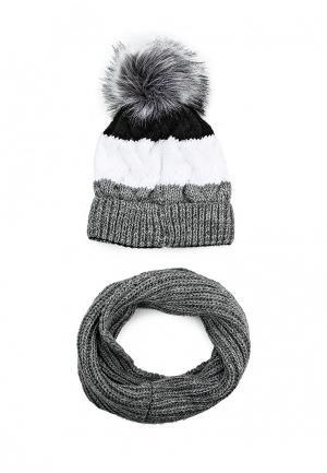 Комплект шапка и снуд Fete. Цвет: разноцветный