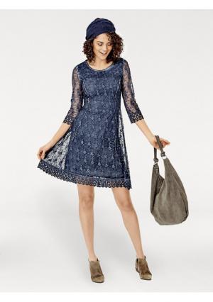 Платье Linea Tesini. Цвет: темно-синий