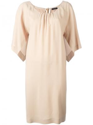 Платье шифт с разрезами на рукавах Roberto Collina. Цвет: телесный