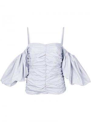 Блузка в полоску с открытыми плечами Isa Arfen. Цвет: чёрный