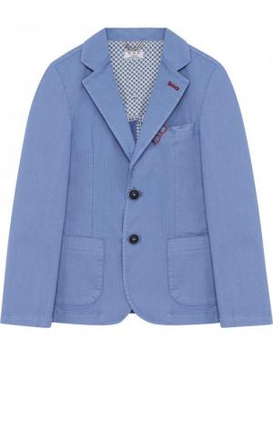 Пиджак из хлопка на двух пуговицах Aletta. Цвет: голубой