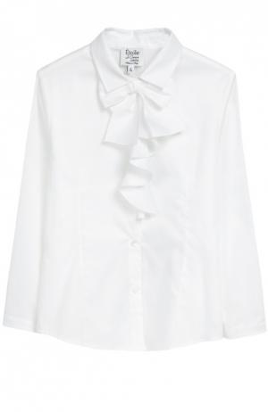 Хлопковая блуза с бантом Aletta. Цвет: белый
