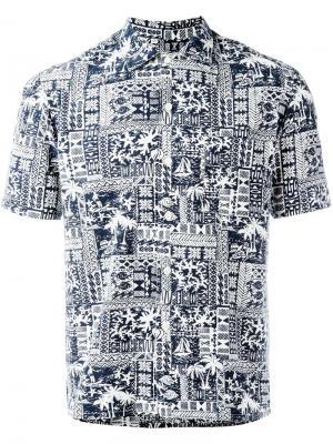 Рубашка с короткими рукавами и мелким узором Salvatore Piccolo. Цвет: синий