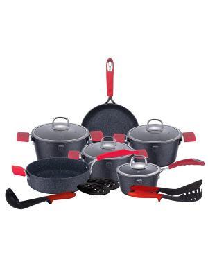 Набор посуды, 15 предметов BERLINGERHAUS. Цвет: черный